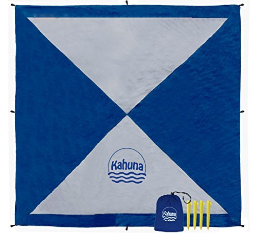 Kahuna Large Beach Blanket (8x8 Feet) - Compact Sand Free Beach Blanket, Beach Sheet, Picnic Blanket. Made from Strong Parachute Nylon. Includes Sand Anchor Pockets, Ground Stakes & Zippered Pocket -