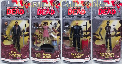 2013 The Walking Dead Comic Book Series 2 (Set of Four) The Governor & The Governor's Zombie Daughter Penny Blake - Glenn & Mike Action Figures Hot -