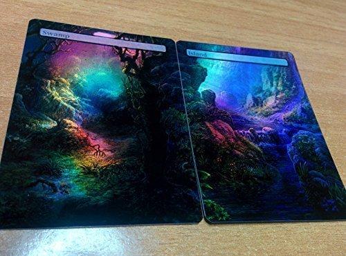 Island/Swamp #17 FOIL Full Art Custom Basic Lands Panorama MTG