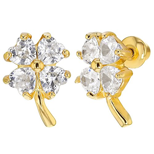 18k Gold Plated Clear Crystal Four Leaf Clover Earrings with Screw On Backs