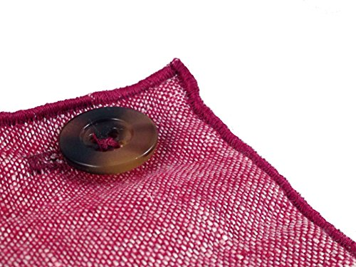 Maroon Linen with Brown Horn Button Men's Pocket Square by The Detailed Male by The Detailed Male (Image #3)