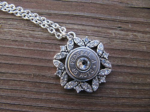 - 45 Bullet Necklace - Snowflake Rhinestone Bullet Necklace - Bullet Jewelry