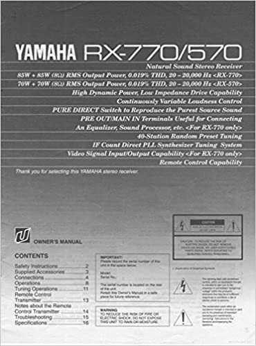 Yamaha Rx 570 Rx 770 Receiver Owners Instruction Manual