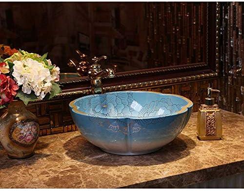Minmin 浴室のシンク花びら形カウンター盆地アート盆地色ゴールドセラミック盆地洗面台付き蛇口セット、40×15センチ 芸術流域