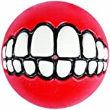 "Rogz Grinz Medium 2.5"" Dog Ball Treat Toy, Red"