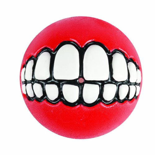 Rogz Fun Dog Treat Ball in various sizes and colors, Medium, Red