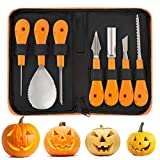 JuguHoovi Professional Halloween Pumpkin Carving Tool Kit, Premium 7 Piece Stainless Steel Pumpkin Carving Tools Set for Halloween with Storage Carrying Case - Pumpkin Color