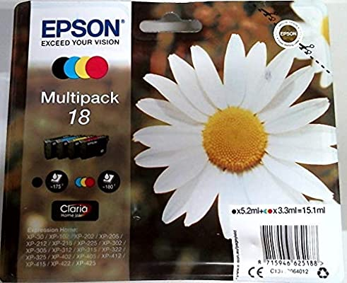Epson C13T18064012 - Cartucho de tinta original para Epson XP-30 (multipack), multicolor, Ya disponible en Amazon Dash Replenishment