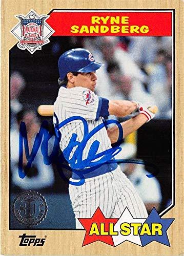 Ryne Sandberg Autographed Baseball Card Chicago Cubs Sc