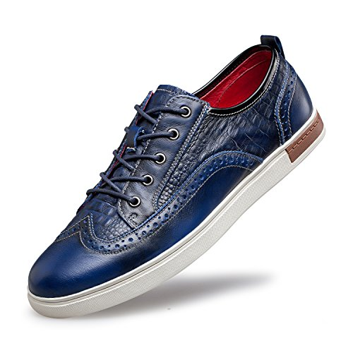 ZRO Men's Wingtip Casual Leather Oxford Sneaker Shoes Blue US 10.5