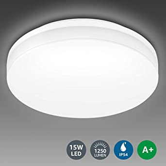 LE Room Light100W for Equivalent15W Ceiling LED Bathroom Light IP54ModernFlush WhiteWaterproof Ceiling 1250lmDaylight KitchenLiving trCxQdshB