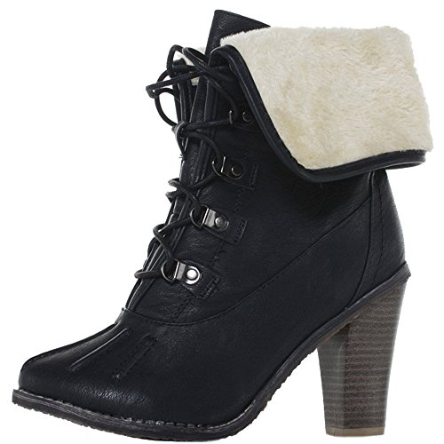 WOMENS LADIES CUBAN WESTERN MID HIGH HEEL BOOTIES HEELED BLOCK COWBOY WINTER ANKLE BOOTS SIZE 3-8 Style 21 - Black
