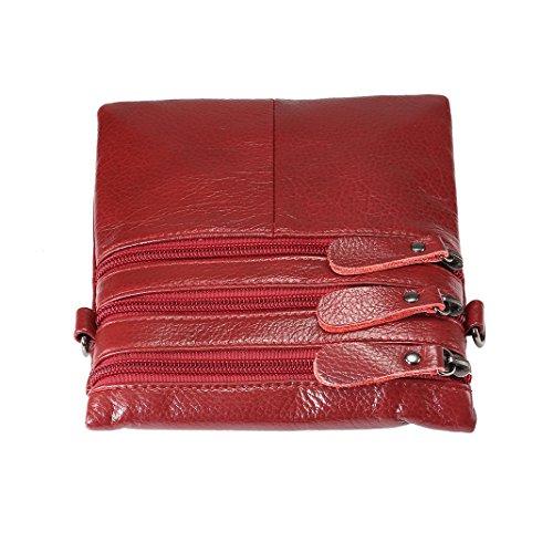 Bandoleras de bolsos Rojo Hombre mano portatiles Shoppers Bolsos cuero del Bolsas hombro Schleife Piel Mujer y Mensajero de Piel Rojo Bolsos et Retro Bandolera Rosa Organizadores fwttgpCUqx