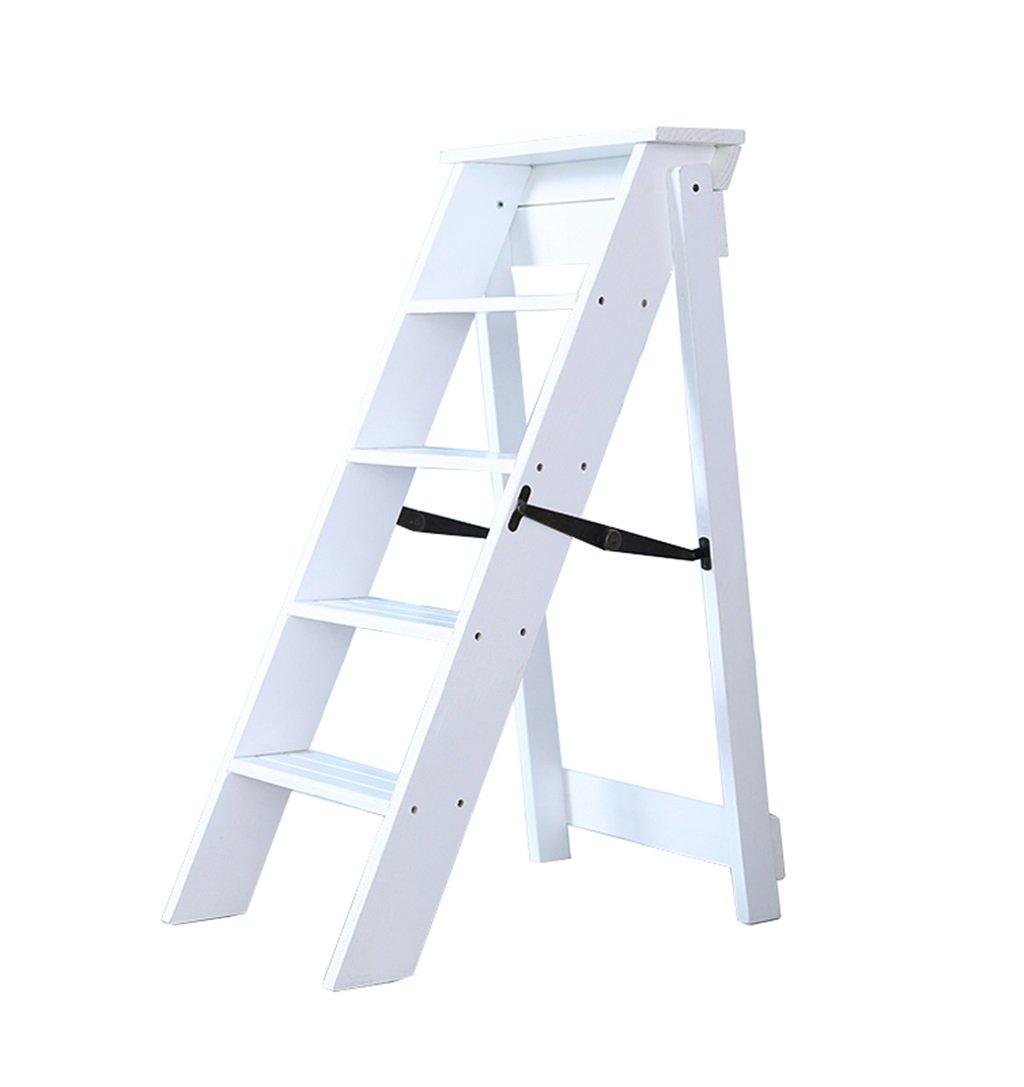 ソリッドウッド折りたたみラダースツール多機能踏み台/階段の椅子5ステップホーム3色 (色 : B) B07F3XZ6JR B B