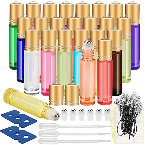 Essential Oil Roller Bottles, 24 Pack 12 Color 10 ml Glass Roller Bottles with Stainless Steel Roller Balls and Golden Hanging Lids(3 Dropper, 6 Extra Roller Balls, 2 Bottle Opener Included)?