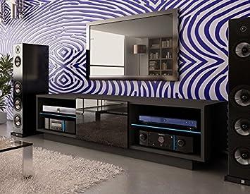 Mueble para televisor moderno, 140 cm, color negro mate y negro brillante. Kit LED: Amazon.es: Electrónica