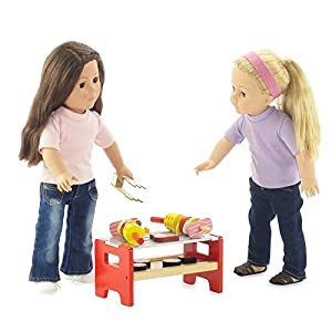18-inch Doll Furniture | Camping Barbecue BBQ Grilling Set - Hand-painted Wooden Pieces | Fits American Girl Dolls by Emily Rose Doll Clothes