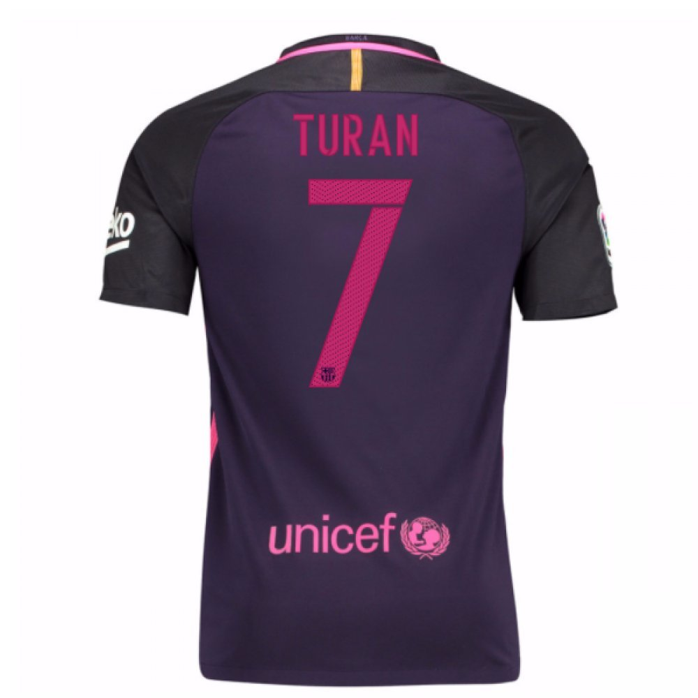 2016-17 Barcelona With Sponsor Away Shirt (Kids) (Turan 7) B01M9FNSA9