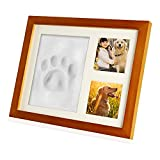 Zexmte Pet Paw Print Keepsake Photo Frame Dogs and Cats Paw Memorial Clay Imprint Kit with Room Wall or Table Decor,Unique DIY Pet Memorial