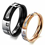 Alimab Jewelery Stainless Steel His Or Hers Rings Wedding Bands Words And Cross Shinning Cubic Zirconia