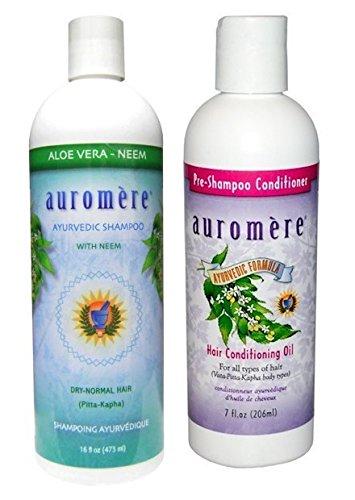 Auromère Ayurvedic Aloe Vera Neem Shampoo and Conditioning Pre-Shampoo Conditioner Bundle With Neem, Aloe Vera and Coconut Oil, 16 fl. oz. and 7 fl. oz. - Auromere Shampoo Aloe