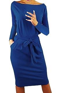 1344d0647609f7 Ajpguot Damen Freizeit Kleid mit Gürtel Elegant Rundhals Midi Kleider  Blusenkleider Ballkleid Festkleid Frauen Langarm Tasche