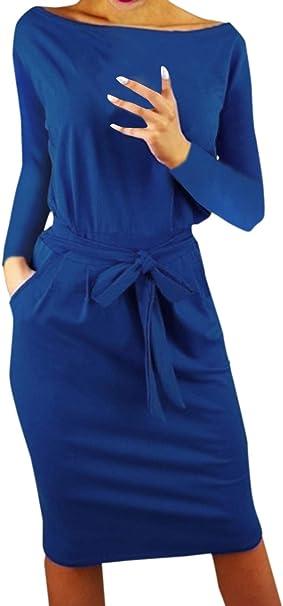 Ajpguot Damen Freizeit Kleid mit Gürtel Elegant Rundhals Midi
