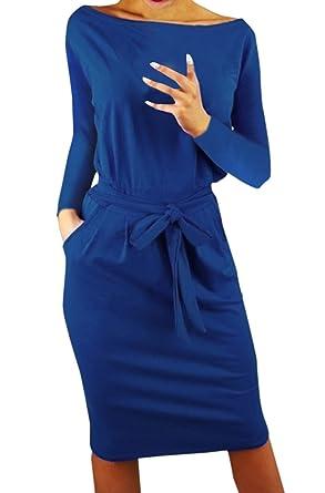 großes Sortiment ungeschlagen x günstigen preis genießen Ajpguot Damen Freizeit Kleid mit Gürtel Elegant Rundhals ...