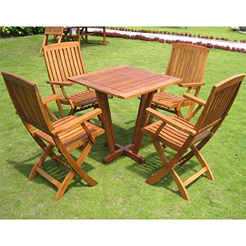 International Caravan Royal Tahiti Milan 5 Piece Square Patio Bistro Set in Stain