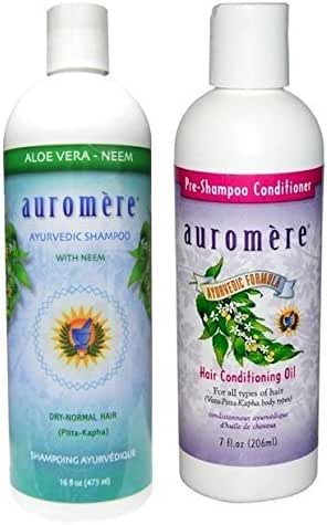 Auromère Ayurvedic Neem Plus 5 Shampoo and Conditioning Pre-Shampoo Conditioner Bundle With Neem, Coconut Oil and Holy Basil Oil, 16 fl. oz. and 7 fl. oz.