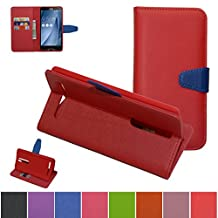 ASUS ZenFone 2 5.5 ZE550ML/ZE551ML Case,Mama Mouth [Stand View] Premium PU Leather [Wallet Case] With Built-in Media Stand ID Credit Card / Cash Slots and Inner Pocket Cover Case For ASUS ZenFone 2 5.5 inch ZE550ML ZE551ML, Red