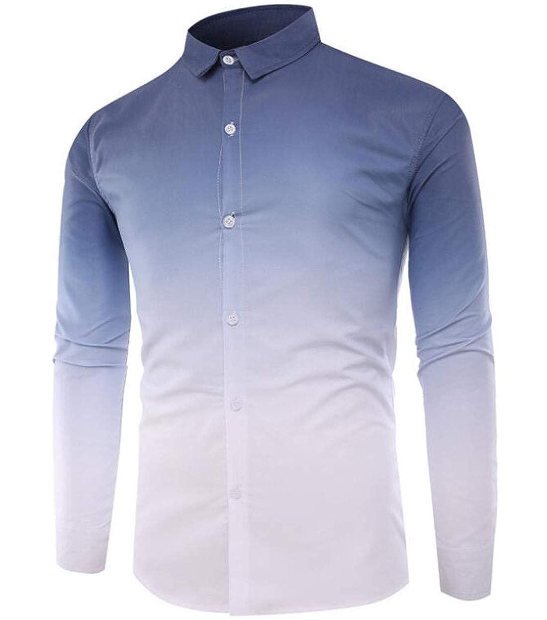 WNSY Men Plus Size Button Down Long Sleeve Lapel Gradient Color Dress Shirt