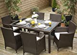 Laura James Rattan Dining Table and 6 Chairs Set (Brown)