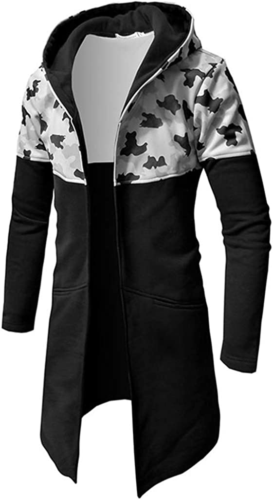 Forthery Mens Trench Coat with Hood Winter Camouflage Zipper Jacket Overcoat Cardigan