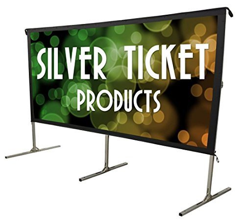 STO-169220 Silver Ticket Indoor/Outdoor Movie Projector Screen Front Projection White Material with Black Back (STO 16:9, - Video Screen Silver