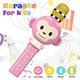Microphone for Kids, Wireless Bluetooth Karaoke Microphone Portable Handheld karaoke Mic Home Party Christmas Birthday Speaker Machine for iPhone/Android/iPad/Sony,PC and All Smartphone(Pink)