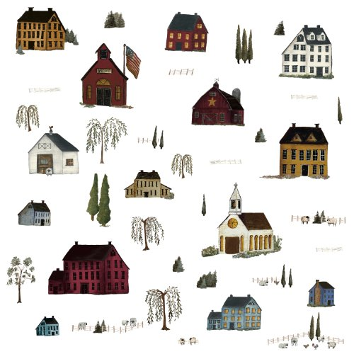 Decals Wall Appliques (ROOMMATES RMK1569SCS Country Scenic Peel & Stick Wall Decals)