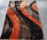 All New Contemporary Line Design Shag Rugs by Rug Deal Plus (5' x 7', Brown/Orange)