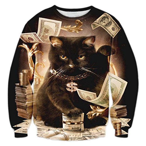 RAISEVERN Teens Dollar Money Graphic Casual Pullover Sweater Sweatshirt
