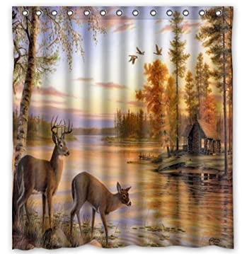 Amazon Deer Water Proof Polyester 66 X 72 Shower Curtain