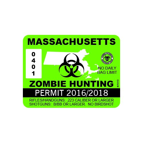 RDW Massachusetts Zombie Hunting Permit - Color Sticker - Decal - Die Cut