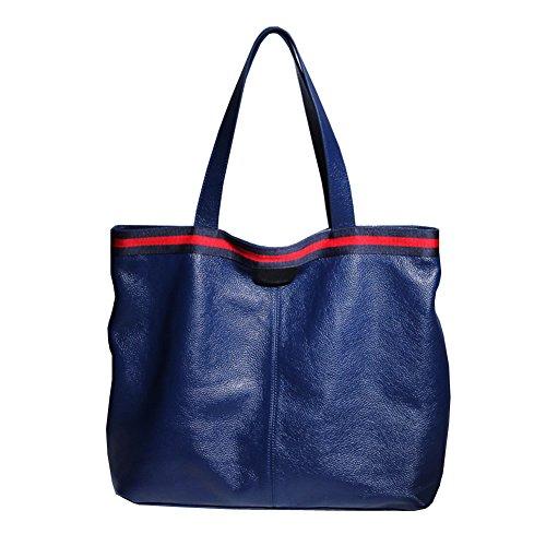 à main portés Sac Sac épaule Sac fashion cuir 69313 LF Bleu main femme DISSA portés en qtp6wAW