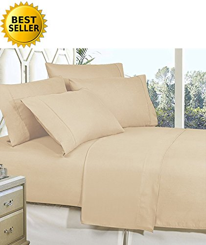 Celine Linen Best, Softest, Coziest Bed Sheets Ever! 1800 Thread Count Egyptian Quality Wrinkle-Resistant 4-Piece Sheet Set with Deep Pockets 100% Hypoallergenic, Queen Cream/Tan