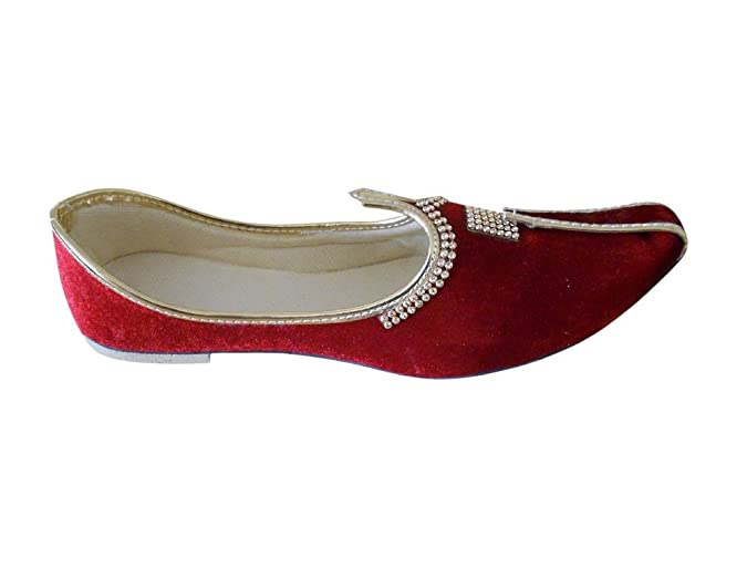 kalra Creations Chaussures de traditionnel indien étui en velours pour femme - Rouge - rouge, 36,5 EU