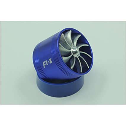 Blue F1-Z Single Turbine Turbo Charger Air Intake Gas Fuel Gas Saver Single Fan