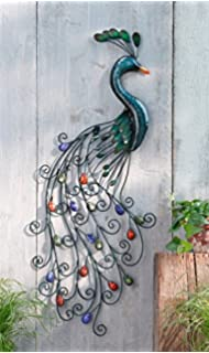 Metal Peacock Wall Art With Colorful Jewelled Tail Product SKU: HD221404