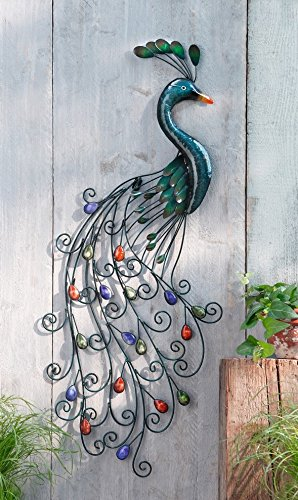 PierSurplus Metal Peacock Wall Art With Colorful Jewelled Tail Product SKU:  HD221404