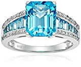 14k White Gold Swiss Blue Topaz and Diamond (1/5cttw, H-I Color, I2-I3 Clarity) Ring, Size 7