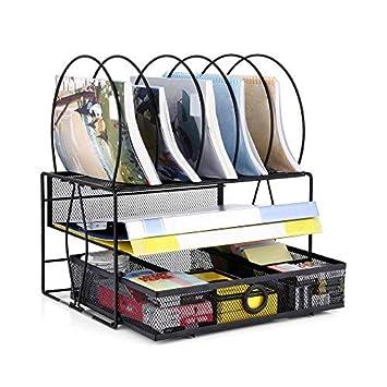 Oakome Organizador de Escritorio Set Oficina Archivador Malla Metal Carpeta Ordenador: Amazon.es: Oficina y papelería