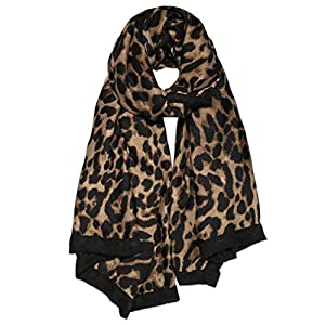 SOJOS Fashion Leopard Pattern Lightweight Chiffon Silk Women Scarf SC321